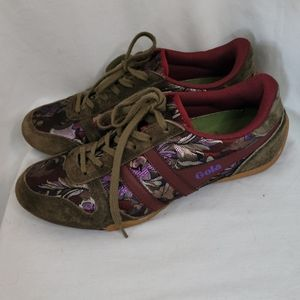 Gola Olive and Floral Low Top Trainers